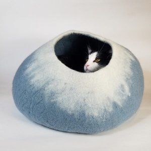 Sky Blue and White Cat Cave | Pet Bed